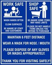 WORK SAFE SHOP SAFE 8 x 10 Sign for COVID display