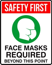 FACE MASKS REQUIRED 8 x 10 Sign for COVID display
